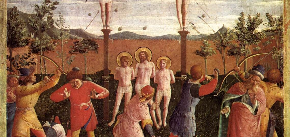 Fra_Angelico_-_Saint_Cosmas_and_Saint_Damian_Crucifixed_and_Stoned_-_WGA0516